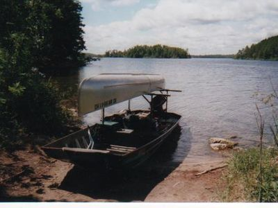 Towboat loaded to take guests into the BWCA wilderness for a day fishing trip.