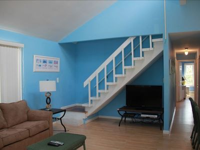 Surf City house rental - Sun Setter Living Room Hallway and Stairway to Master Bedroom Suite