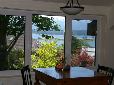 View of the bay from 'Mariner's Lookout on Comox Bay' suite kitchen.