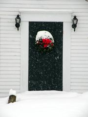 Dorset house photo - Christmas wreath in the holiday season.
