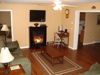 "Living Room w/ gas fireplace, 37"" LCDTV, DVD, AC & Wireless internet - 1st Floor"