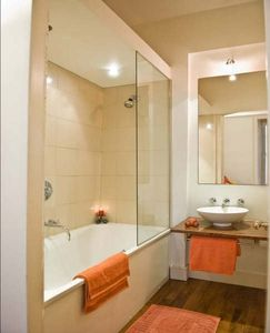 Bathroom with shower  & toilet (behind door)
