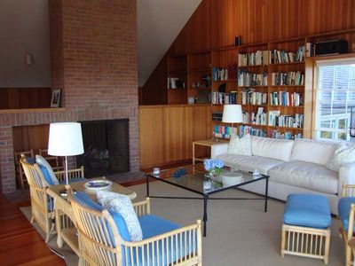 Edgartown house rental - Living room with cathedral ceilings, flat screen TV, stereo, fireplace.