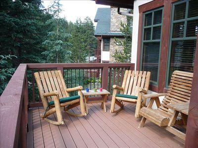 Relax and unwind on our large deck overlooking the pines and Ten Mile Creek!