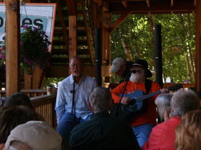 Music on the Mountain Treasures porch. Fritz & Fagan joined by Wayne Kidd.