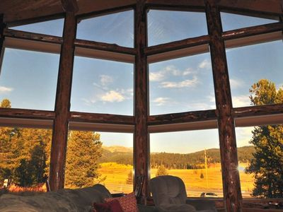West Yellowstone house rental - view of Lionhead Mt. range from inside living room