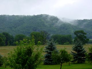 Lake Pepin house photo - View of the morning mist in the Bluffs in the front yard.