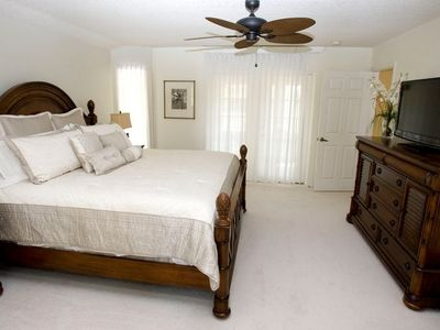 Master Bedroom with king size bed and LCD DVD TV for the masters of the home.