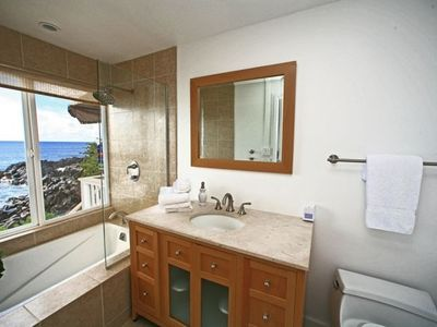 Amazing ocean view from newly remodeled Master Bath and a deep soaking tub.