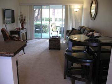 Old Town Scottsdale condo rental - Well appointed living room with dining area.