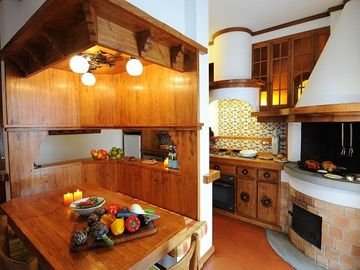 The solid wood kitchen