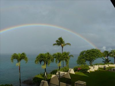 Rainbow at sunrise from lanai