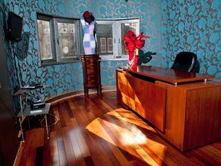 Philadelphia house photo - Office with custom wall paper