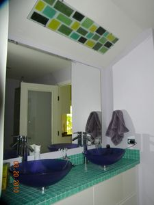 master bath- has large fun tiled shower