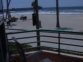 Gorgeous Sand beach with view from Oside pier to the harbor.