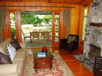 Laguna Beach house rental - Beautiful Rock Fireplace in cozy Living area off the front yard!