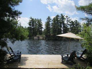Stoney Lake cottage photo - Swim dock, looking South to sheltered deepwater swimming area and picnic islands