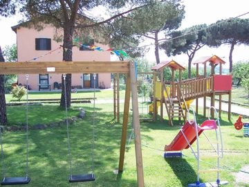 Garden with children's play area