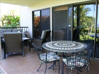 Wailea condo photo - Lanai with Dining and Sitting Areas and Electric Barbeque