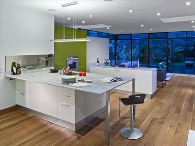 Kitchen with Gaggenau appliances, Scavolini kitchen + seating for 5 at Island.
