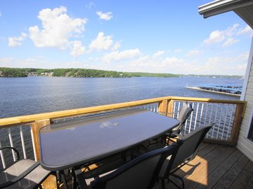 The Deck offers Bar-Height Seating for 6, a Gas Grill, and Awesome Lake Views!