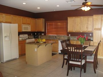 Large kitchen with room for more than one cook! Table seats eight comfortably.
