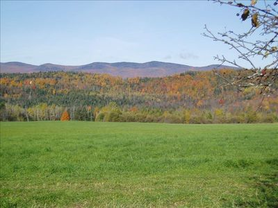 View of the pasture and Lowell Mts. from the backyard of the farmhouse