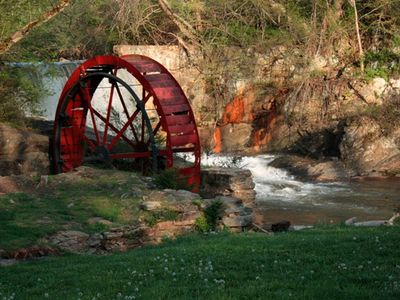 Old Mill Wheel and Reems Creek. Lake Louise Park, Weaverville.
