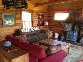Angel Fire house photo - Living Room with Wood Stove