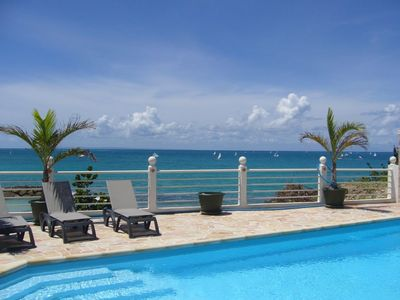 Le Gosier villa rental - View from pool terrace, 12 m away from the beach