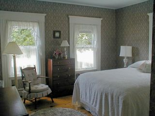 Deer Isle house photo - This first floor bedroom has a queen bed, closet, and nearby bath.