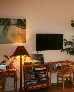 Desk with WIFI and entertainment center with flat screen TV, satellite, DVD