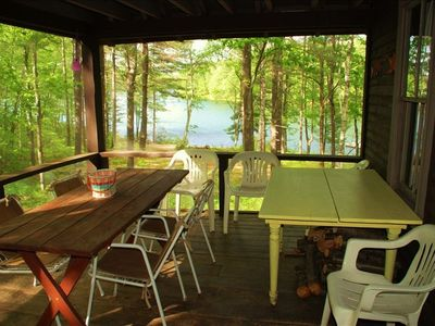 Screened veranda with the lake view