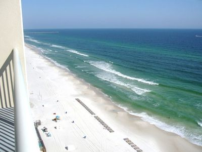View of the gorgeous emerald gulf panama city beach right from our large balcony
