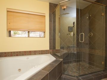 Jacuzzi tub and seperate shower, main level master.