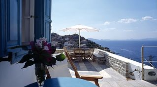 Hydra Island villa photo - Terrace facing west with amazing sunsets