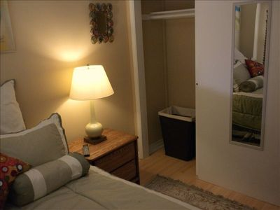 Sliding closet in bedroom.  Free washer and dryer on premises.
