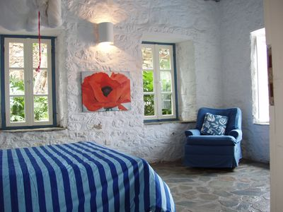 Hydra Island villa rental - One of the two bedrooms with double beds
