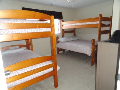 Bunk room has a full & 3 twin beds, providing flexibility for you and your group