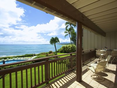 Pool and Papaloa Bay views right from your Lanai. Lounge, Dine, or just gaze out.