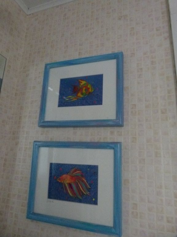 Original Serigraphs in Bathroom