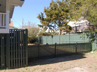 Back and side yard are fenced in and perfect for pets