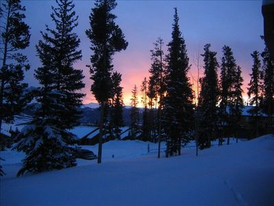 Silverthorne condo rental - sunrise as seen from our unit