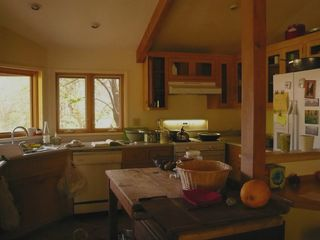 Three Rivers farmhouse photo - Great views from this cozy kitchen