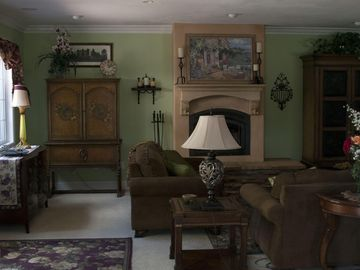 Buellton farmhouse rental - Living room has comfortable furnishings and old world charm