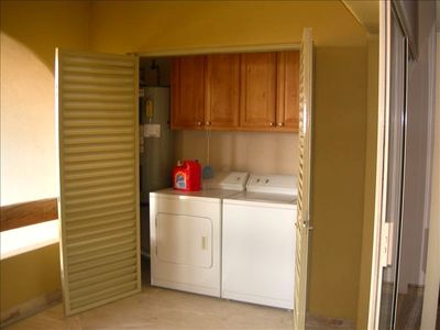 Washer and dryer available.  Great for longer stays.