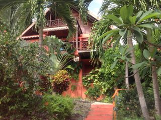 Flamingo villa with lush tropical foliage
