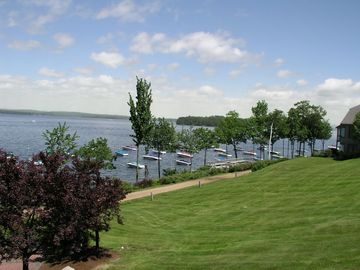 View of Samoset waterfront and green lawn from the pool area.