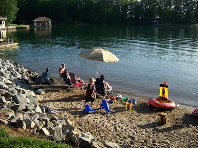 Great Sandy Beach! Ideal for swimming and floating, tucked in cove, gentle slope