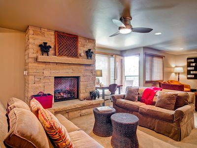 Get cozy by the gas fireplace